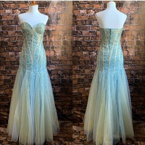 Jovani Blue and Gold Sequins Mermaid Gown